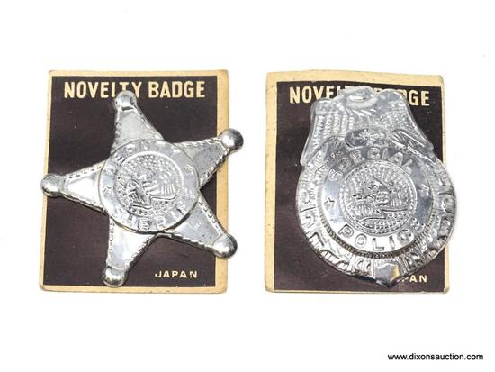 1960'S VINTAGE NOVELTY BADGE LOT OF 2 SHERIFF/POLICE OFFICER.