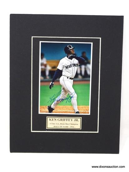 HAND SIGNED KEN GRIFFEY JR. MATTED PHOTO. COMES WITH CERTIFICATE OF AUTHENTICITY. MEASURES 8 IN X 10