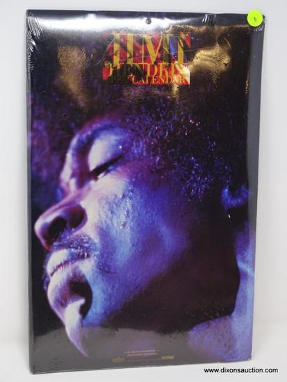VINTAGE JIMMY HENDRIX SEALED 1992 CALENDAR. MEASURES 11 IN X 17 IN.