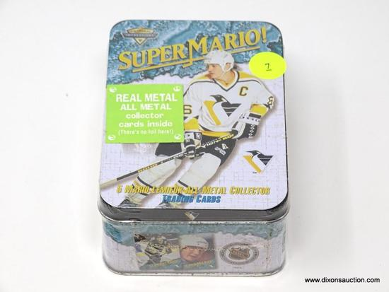 VINTAGE SEALED HOCKEY CARD TIN. CONTAINS 5 REAL METAL MARIO LEMIEUX COLLECTOR TRADING CARDS. TIN