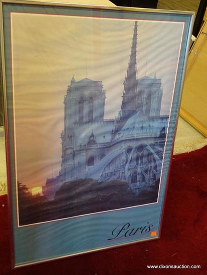 PARIS POSTER; 20TH C. SILVER METAL FRAME. MODERN POSTER WITH IMAGE OF PARIS AT DAWN SURROUNDED BY A
