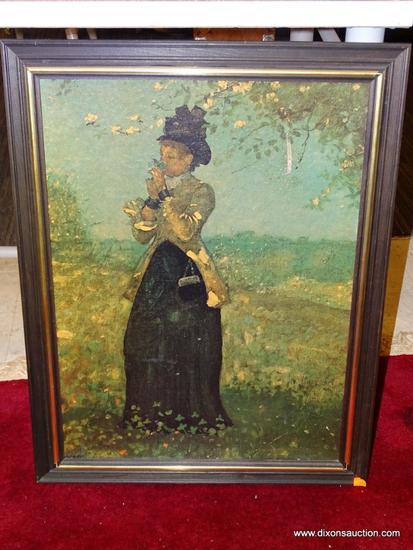 THE YELLOW JACKET WINSLOW HOMER; GICLEE ON BOARD. FRAME IS BLACK WOOD WITH A GOLD TRIM; NO GLASS.