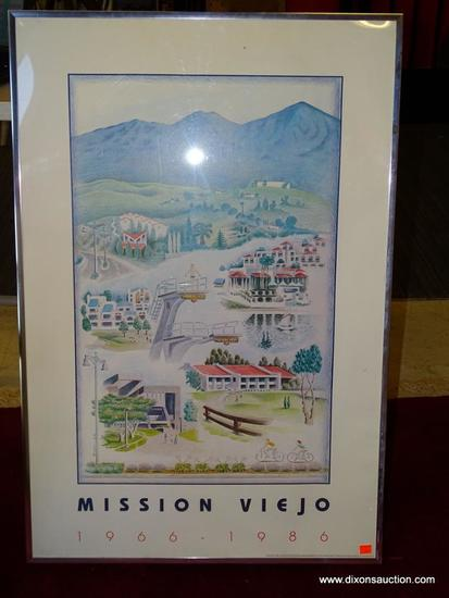 MISSION VIEJO 1966-1986; DORIAN. ADVERTISING POSTER PRINT. AMERICAN 1986. FRAME IS SILVER WITH