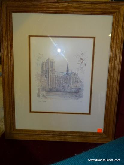NOTRE DAME MADS STAGE; PENCIL AND WATERCOLOR PRINT DANISH 20TH C. STAGE WAS A PROLIFIC ARTIST WHO
