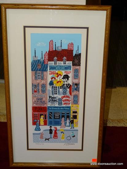 PARIS JOSEF FARHI; 1933-1997. SERIGRAPH 160/350. ISRAELI 20TH C. DOUBLE MATTED IN NAVY AND WHITE.