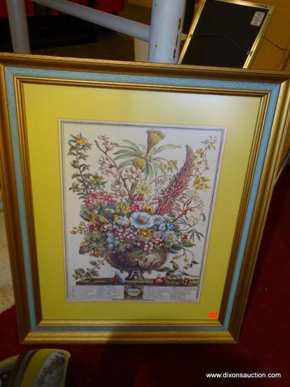 DECEMBER ROBERT FURBER; BOTANICAL IDENTIFICATION PRINT. BRITISH 18TH C. MATTED IN YELLOW AND FRAMED