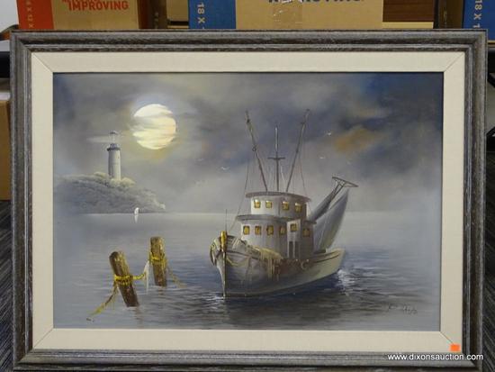 UNTITLED P. SALAS OIL ON CANVAS; CREAM FABRIC MATT WITH GREY WOOD-GRAIN FRAME. 20TH C. AMERICAN.