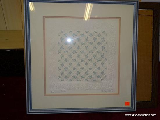 KENTUCKY ROSE JUDY SEVERSON; EMBOSSED PRINT. AMERICAN 20TH C. DOUBLE MATTED IN PINK AND CREAM WITH A