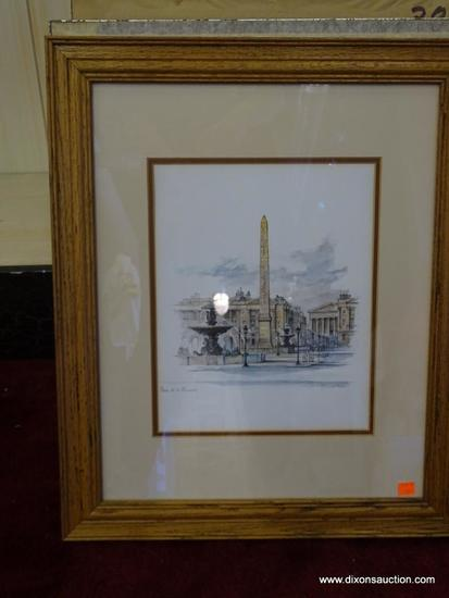 PLACE DE LA CONCORDE MADS STAGE; PENCIL AND WATERCOLOR PRINT. DANISH 20TH C. DOUBLE MATTED IN BROWN