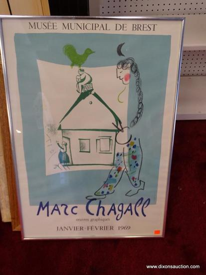 MUSEE MUNICIPAL DE BREST MARC CHAGALL; LITHOGRAPH. FRENCH 1969. SILVER METAL FRAME. MARC CHAGALL WAS