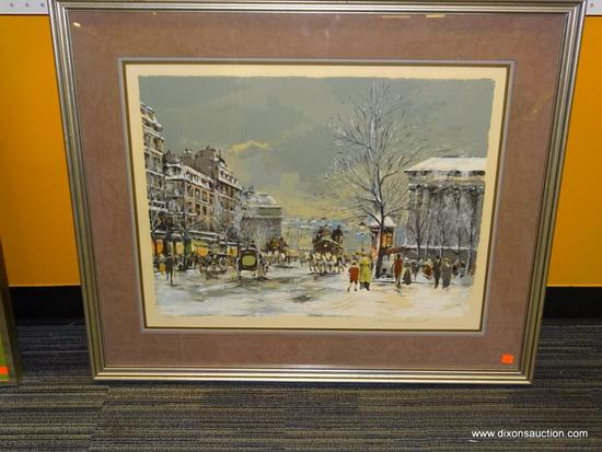 PARIS-1890 ANTOINE BOULET; FRENCH 20TH C. SERIGRAPH-ORIGINAL. TRIPLE MATTED IN GREY, BLUE AND MAUVE