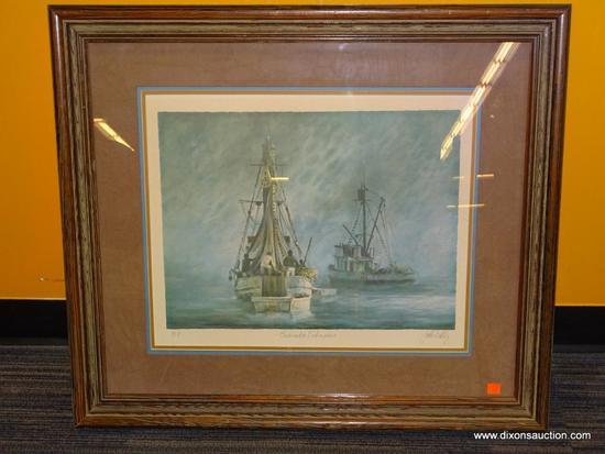 EUSENDA FISHERMAN JOHN KELLY; JOAN KELLY B.1939. SCOTTISH 20TH C. LITHOGRAPH. TRIPLE MATTED IN TAN,