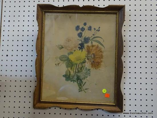 (R1) VINTAGE FRAMED BOTANICAL PRINT; MULTI COLORED WILDFLOWERS IN AN ANTIQUED WOODEN FRAME WITH