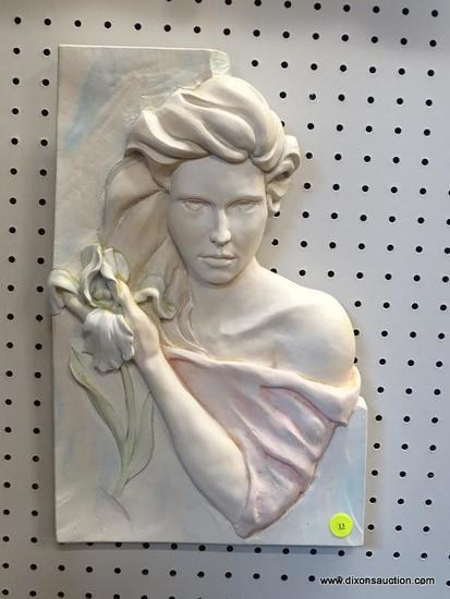 (R1) PASTEL PLASTER BUST OF WOMAN WITH IRIS; MOLDED WHITE PLASTER WITH HINTS OF PALE PINK, BLUE, AND
