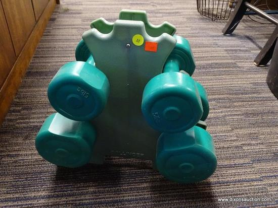 (R1) HAND WEIGHTS SET; TEAL IN COLOR, INCLUDES STAND, PAIR OF 5 LB WEIGHTS, AND PAIR OF 8 LB