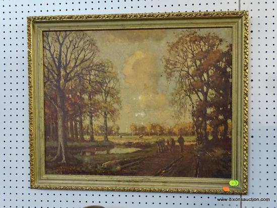 (R1) FRAMED ART PRINT; ANTIQUE OIL PAINTING IMAGE IN MUTED EARTH TONES, LANDSCAPE WITH A MAN WALKING