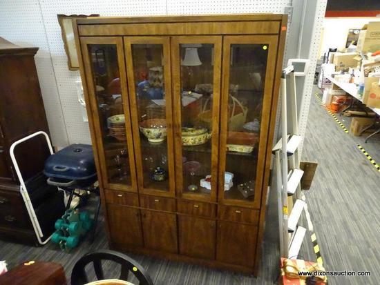(R1) CONTEMPORARY CHINA CABINET; 4 GLASS PANES ACROSS FRONT, CENTER 2 OPEN OUTWARE TO REVEAL 2