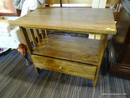 (R1) MISSION STYLE END TABLE/NIGHTSTAND; SLATTED SIDES WITH A LOWER SINGLE DRAWER. MEASURES 27 IN X