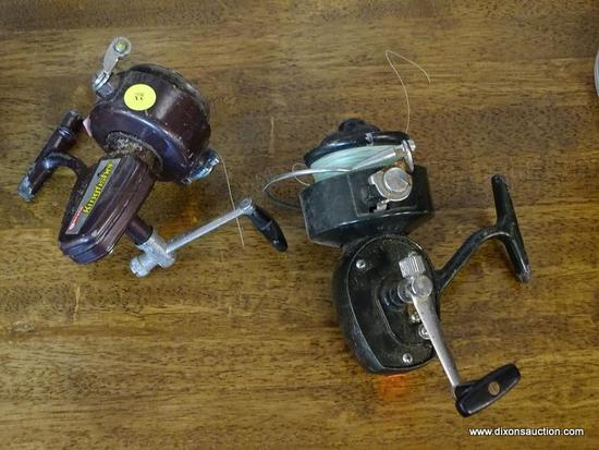 (R1) FISHING REELS LOT; TOTAL OF 2. INCLUDES GARCIA KINGFISHER GK-26 (BROWN) AND MATCH 555 (BLACK).