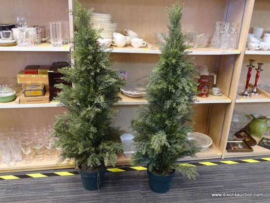 (R1) PAIR OF POTTED ARTIFICIAL EVERGREEN TREES; EACH MEASURES ABOUT 48 IN TALL (4 FT). PLANTED POT