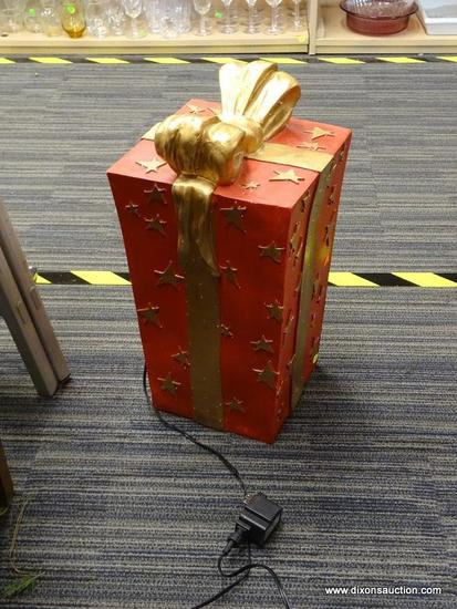 (R1) TALL RED AND GOLD GIFT BOX DECORATION; RED WITH GOLD MOLDED BOW AND STAR PATTERN ON BOX,