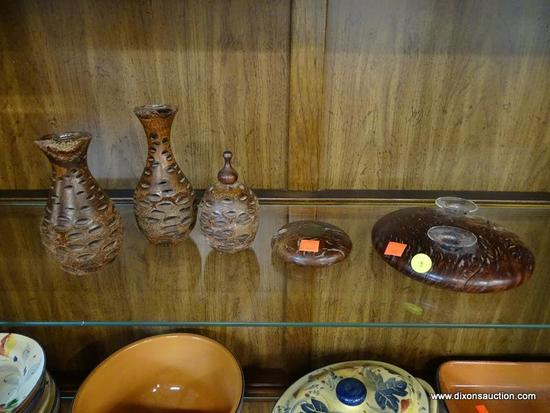 (R1) WOODEN CARVED DECOR LOT; TOTAL OF 5 PIECES, INCLUDING A 3 PIECES SET (2 VASES AND SMALL JAR)