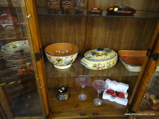 (R1) ITALIAN PAINTED CERAMIC DINNERWARE LOT; TOTAL OF 11 PIECES IN A PALE YELLOW WITH MULTICOLORED