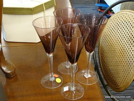 (R1) AMETHYST GLASS STEMWARE SET; TOTAL OF 4 PIECES OF TALL FLARED TOP FLUTES, EACH MEASURES 8 3/4