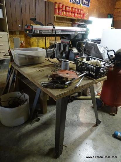 (GAR) RADIAL ARM SAW; CRAFTSMAN RADIAL ARM SAW ON STAND-40 IN X 34 IN X 60 IN.