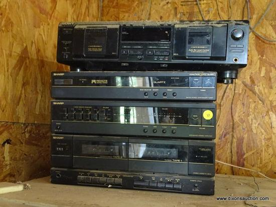 (GAR) STEREO; SHARP FSG-F800 COMPACT STEREO SYSTEM WITH DUAL CASSETTE, AM/FM STEREO AND AMPLIFIER,