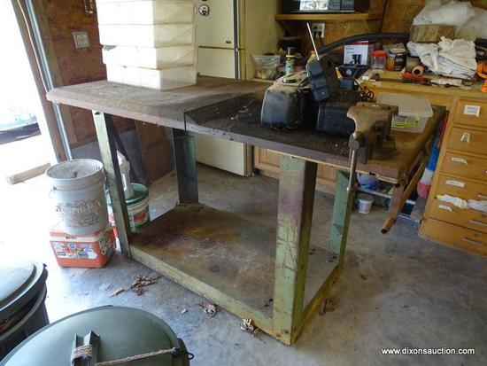 (GAR) WORK BENCH; STEEL WORK BENCH WITH ATTACHED VISE- 72 IN X 34 IN X 44 IN