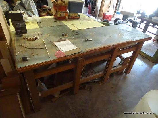 (GAR) WORK BENCH; HOMEMADE WORK BENCH WITH FORMICA TOP, MEASURES 60 IN X 84 IN X 39 IN