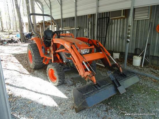(OUT) TRACTOR WITH FRONT END LOADER; 2006 KIOTI 4 WHEEL DRIVE TRACTOR WITH FRONT END LOADER- MODEL