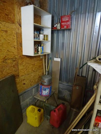 (GAR) CORNER LOT; LOT INCLUDES CONTENTS ON HANGING SHELF AND FLOOR, CHRISTMAS TINS, WOOD STAIN,
