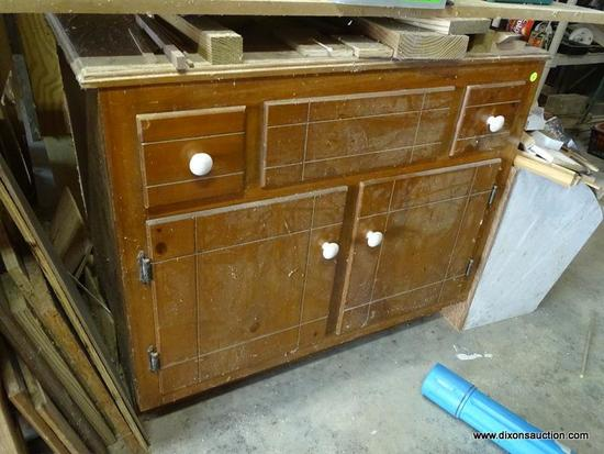 (GAR) CABINET; PINE CABINET BASE WITH 2 DRAWERS AND 2 DOORS, MEASURES 37 IN X 22 IN X 32 IN. GREAT