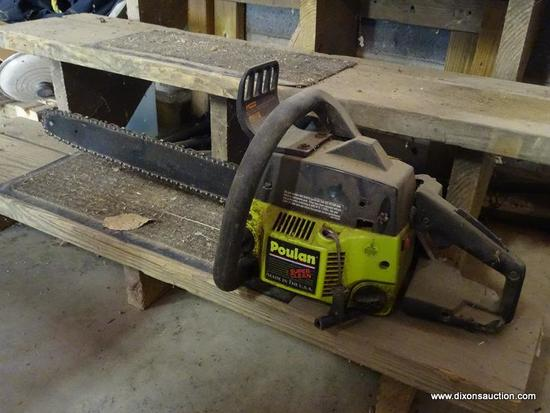 (GAR) CHAIN SAW; POULAN 18 IN CHAINSAW, PLEASE PREVIEW TO CONFIRM FOR WORKING CONDITION