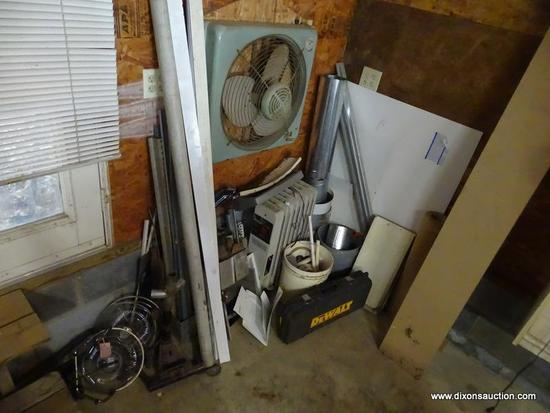 (GAR) WALL LOT; LOT ALONG BACK WALL TO INCLUDE ELECTRIC HEATER, NEW STOVE PIPE, PVC PIPE PARTS AND