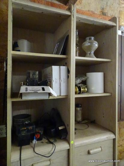 (GAR) CONTENTS OF HANGING CABINET; CONTENTS INCLUDES CRAFTSMAN 18 VOLT CHARGERS WITH BATTERIES, 2