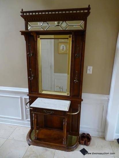 (FOY) VINTAGE MIRRORED HALL TREE; RICH MAHOGANY WOOD WITH SPINDLED TOP GALLERY TAIL AND CORNER