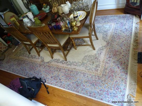 (DR) PALACE RUG; LARGE CREAM COLORED HAND KNOTTED AREA RUG WITH LIGHT BLUE, MAUVE, AND GOLD BORDER