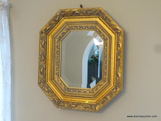 (DR) GOLD COLORED OCTAGONAL WALL MIRROR; BEVELED GLASS SURROUNDED BY A MOLDED SHADOW BOX-STYLE