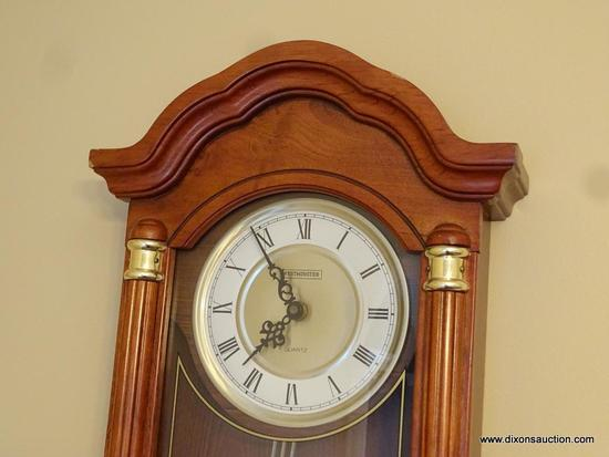 (DR) WESTMINSTER WOODEN WALL CLOCK; MOLDED BONNET SHAPED TOP WITH REEDED SIDE COLUMN DETAIL, ROUND