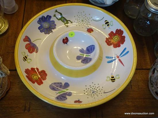 (DR) PAINTED BICO CHINA SERVING PLATTER WITH BOWL IN CENTER; ROUND PLATE WITH CENTER BOWL FOR