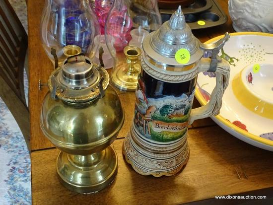 (DR) VINTAGE GERMAN BEER STEIN AND BRASS OIL LAMP BASE; STEIN COMES WITH PEWTER LID, ORNATELY MOLDED