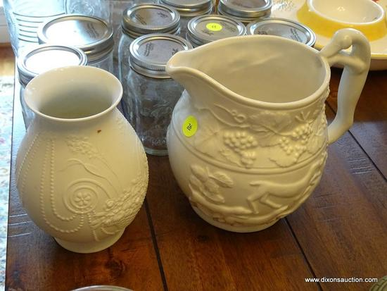 (DR) VINTAGE WHITE EUROPEAN PORCELAIN LOT; TOTAL OF 2 PIECES. ONE IS A KAISER GERMANY #025 VASE,
