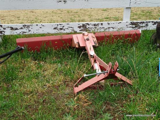 METAL TRACTOR BLADE; FADED RED REAR TRACTOR BLADE ATTACHMENT. MEASURES 72 IN X 13 IN X 46 IN.