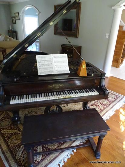 (LR) ANTIQUE WM KNABE & CO GRAND PIANO; VICTORIAN STYLE GRAND PIANO, CIRCA 1880, SERIAL #19877.