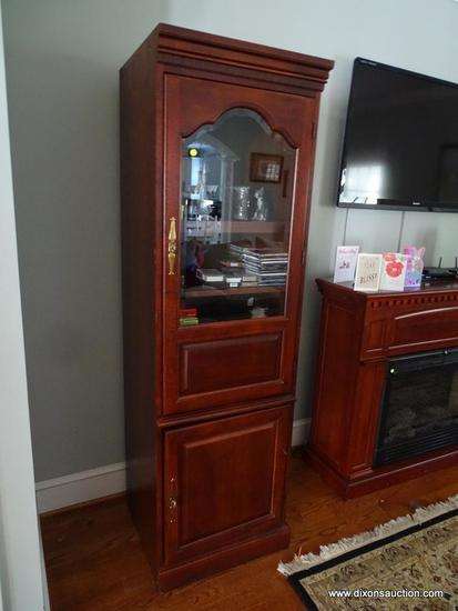 (LR) CHERRY FINISH ENTERTAINMENT CENTER; TOTAL OF 3 PIECES (2 ARE IDENTICAL GLASS FRONT CABINETS IN