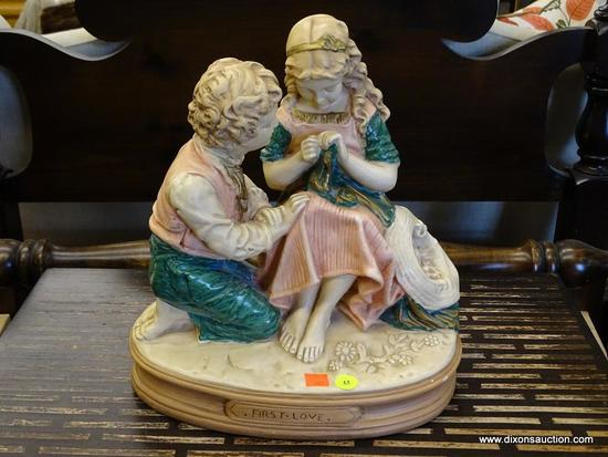 "FIRST LOVE FIGURINE; VINTAGE AND LARGE STATUE ""FIRST LOVE"" WITH BOY & GIRL. FIRST LOVE STATUE"