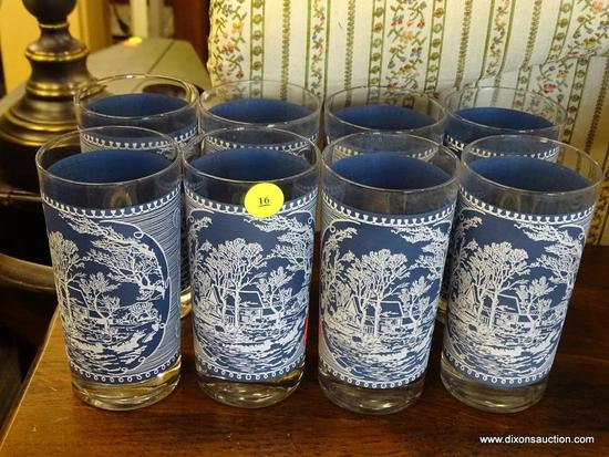 CURRIER & IVES BLUE TUMBLERS; TOTAL OF 8. BLUE IN COLOR AND ALL ARE IN EXCELLENT CONDITION! RETAIL